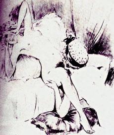 Scène de cunnilinctus lesbien - dessin de Collot