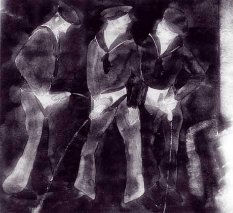 Three sailors urinating - Charles Demuth circa 1930