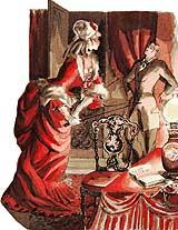 Femme du monde donnant la cravache à un gentleman soumis