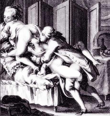 Trio amoureux -  gravure Antoine Borel (1743-1810)