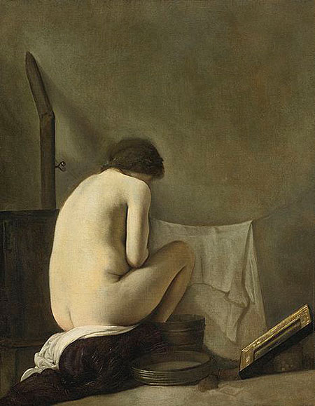Seated Nude Bathing by a Stove - Paulus Bor